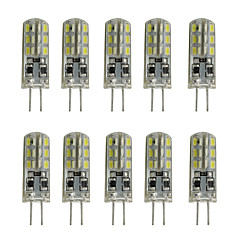 1w 80-120lm dimbare siliconen g4 led lampkristal lamp 12v dc 24 smd 3014 wit / warm wit (10 pcs)