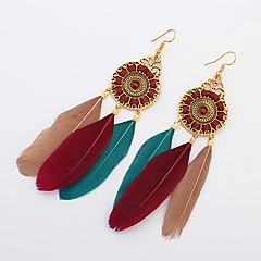 Store øreringe Fjer Legering Mode Boheme Stil Cirkelformet Vinger / Fjer Mørkeblå Rød Grøn Lys pink Regnbue Smykker Fest Daglig Afslappet