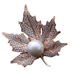 Damen Broschen Perle Gold Silber Golden Schmuck Alltag
