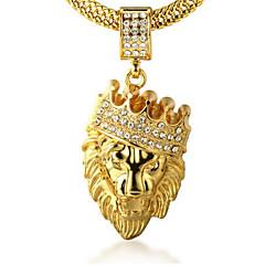 Herre Halskædevedhæng Rhinsten Kroneformet Dyreformet Løve Gyldent Simuleret diamant 18K guld Legering Klippe Personaliseret kostume