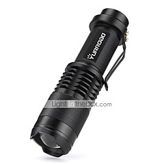 LED zseblámpák LED 3000 Lumen 5 Mód Cree XM-L T6 18650 Mini Állítható fókusz Ütésálló Csúszásgátló markolat Vízálló Kompakt méret