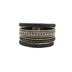 Bransoletki ze skóry Przyjaźń Modny Bohemia Style Ręcznie wykonane Skórzany Stop Flower Shape Number Shape Biżuteria Biżuteria Na Ślub