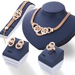 Damskie Zestawy biżuterii Rhinestone Unikalny biżuteria kostiumowa Kryształ górski Biżuteria 1 parę kolczyków Naszyjniki Náušnice Rings Na