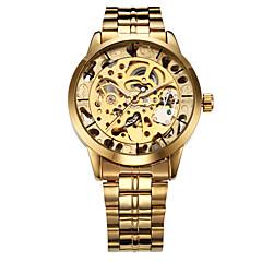 WINNER Heren Polshorloge mechanische horloges Automatisch opwindmechanisme Hol Gegraveerd Roestvrij staal Band Luxueus GoudGoud Zilver