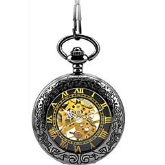 Heren Skeleton horloge Zakhorloge mechanische horloges Automatisch opwindmechanisme Legering Band Zwart