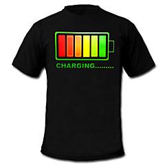 LED 티셔츠 100% 면 2 AAA 배터리