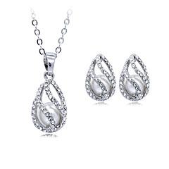 Mulheres Colares com Pendentes Cristal Imitação de Pérola Circular Pingente Geométrico Vintage Ajustável Clássico bijuterias Prata