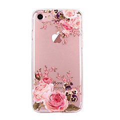 Kompatibilitás iPhone X iPhone 8 tokok Ultra-vékeny Átlátszó Minta Hátlap Case Virág Puha Hőre lágyuló poliuretán mert Apple iPhone X