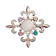 Damskie Broszki Rhinestone Modny Bling Bling Kryształ górski Stop Flower Shape Biżuteria Biżuteria Na Impreza Wyjściowe