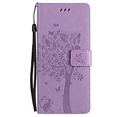 na portfel przypadku portmonetka z portfelem z podstawką flip wytłoczone pełne pudełko na ciele kota motyl drzewo twardy pu skóra dla