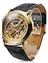 WINNER® Men\'s Auto-Mechanical Gold Dial Black PU Band Wrist Watch Cool Watch Unique Watch
