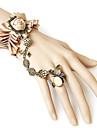 Flower Butterfly Pattern Champagne Fabric Rhinestone Bracelet