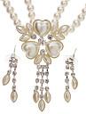 Листьями в форме сердца Серьги + Комплект ювелирных изделий ожерелья