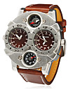 Men's Military Style Dual Time Zones Brown PU Band Quartz Wrist Watch
