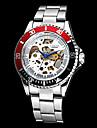 남성 기계식 시계 손목 시계 중공 판화 오토메틱 셀프-윈딩 스테인레스 스틸 밴드 실버