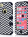 Wave Pattern PC and Silicone 3 in 1 Phone Case Cover for 5C Soft Rubber Case For IPhone5C