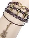 Shixin® European Guitar 18cm Women's Brown Leather Wrap Bracelet(1 Pc)