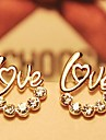 Women's Stud Earrings Love Costume Jewelry Rhinestone Gold Plated Jewelry For Wedding Party Daily Casual