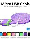3m v8 micro usb tenacidade de nylon cabo de dados de macarrao para Samsung e outro telefone (cores sortidas)