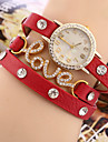 Women\'s Bracelet Watch Quartz Rhinestone Imitation Diamond PU Band Charm Black Red