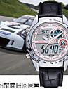 Masculino Relógio de Pulso Quartzo LCD Calendário Cronógrafo Impermeável Dois Fusos Horários alarme Couro Banda Preta Marrom