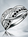 Z&X® 925 Silver Plated Party/Daily Black-White Rhinestone Twist Band Rings 1pc