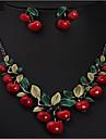 Feminino Conjunto de Joias Moda Europeu bijuterias Cereja Fruta Brincos Colar Para Festa Ocasiao Especial Aniversario Presentes de