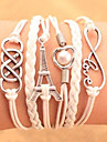 Men\'s Women\'s Chain Bracelet Wrap Bracelet Heart Handmade Multi Layer Fashion Leather Alloy Heart Tower Love Infinity Jewelry For Party