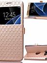 Для Samsung Galaxy S7 Edge Бумажник для карт / со стендом / с окошком / Флип Кейс для Чехол Кейс для Геометрический рисунокИскусственная