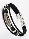 leather Charm BraceletsThree Layer Buckle Leaves Leaf Shape PU Leather Men's Bracelet Christmas Gifts