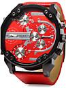 Мужской Армейские часы Календарь С двумя часовыми поясами С тремя часовыми поясами Кварцевый Кожа Группа Cool Люкс Черный Синий Красный
