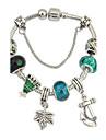 Feminino Pulseiras em Correntes e Ligacoes Pulseiras com Pendentes Chrismas Europeu bijuterias Resina Strass Liga Ancora Joias Para