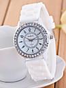 아가씨들 패션 시계 손목 시계 캐쥬얼 시계 모조 다이아몬드 캐쥬얼 시계 석영 실리콘 밴드 스파클 블랙 화이트 블루 그린 핑크