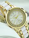 Women\'s Fashion Watch Simulated Diamond Watch Imitation Diamond Quartz Stainless Steel Band Black White