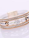 Women\'s Chain Bracelet Wrap Bracelet Friendship Fashion Multi Layer Bridal Elegant Costume Jewelry Leather Rhinestone Imitation Diamond