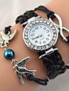 Femme Montre Tendance Montre Bracelet Bracelet de Montre Quartz Strass Imitation de diamant Polyurethane Banderetro Etincelant Heart