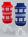 고양이 개 스웨터 레드 블루 강아지 의류 겨울 모든계절/가을 눈송이 클래식 크리스마스 새해