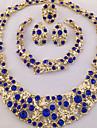 Mulheres Conjunto de Joias Anel Colares Declaracao Pulseira Brinco Original bijuterias Moda Personalizado Africa Cristal Strass 1 Colar 1
