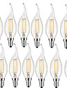 2W E14 LED Filament Bulbs CA35 2 COB 190 lm Warm White Decorative AC 220-240 V 12 pcs
