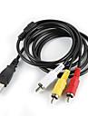 USB 2.0 macho para 3 RCA Male Audio Video Cable Preto (1M)