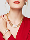 Women\'s Jewelry Set Statement Necklaces Bracelet Earrings Ring Jewelry Gold Plated 18K gold Fashion Statement Jewelry Costume Jewelry