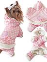 강아지 점프 수트 강아지 의류 캐쥬얼/데일리 따뜻함 유지 물방울 무늬 베이지 핑크