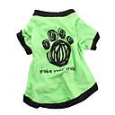 hesapli Köpek Giyim ve Aksesuarları-Köpek Tişört Köpek Giyimi Harf & Sayı Yeşil Pamuk Kostüm Evcil hayvanlar için Erkek Kadın's Günlük/Sade