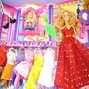 billige Tilbehør til høretelefoner-Barbie Doll Garderobe med Baby Doll og Seven Kjoler