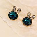 hesapli Küpeler-Kadın's Kristal Vidali Küpeler - Kristal, Yapay Elmas, Simüle Elmas zarif Yeşil Uyumluluk Günlük