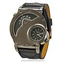 cheap Men's Watches-Men's Military Watch Quartz Dual Time Zones PU Band Analog Charm Black - Black
