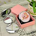hesapli Kişiselleştirilmiş Yenilikçi Ürünler-Kişiye Hediye Çiçek Style Pembe Krom Kompakt Ayna
