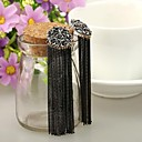 Buy Retro Round Flower Antique Silver Plated Alloy Tassel Earrings (1 Pair)