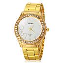 hesapli Kadın Saatleri-Kadın's Quartz Bant Altın Rengi - Beyaz Siyah