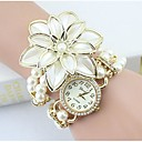 baratos VGA-Mulheres Quartzo Bracele Relógio imitação de diamante Lega Banda Flor / Com Pérolas / Elegant / Fashion Branco / Dourada